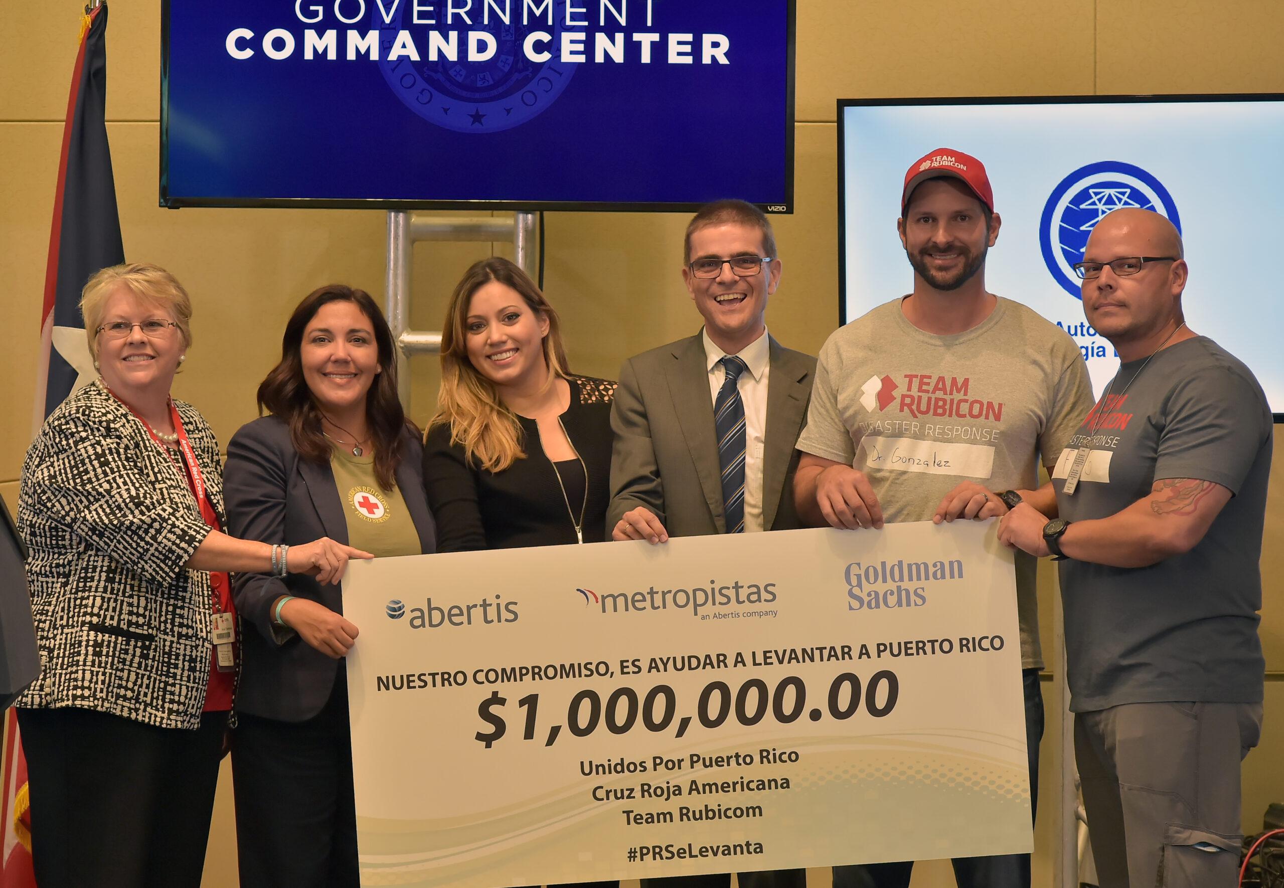 Miembros consorcio metropistas, Abertis Y Goldman Sachs donan $1 millón a iniciativas de ayuda por huracán en Puerto Rico