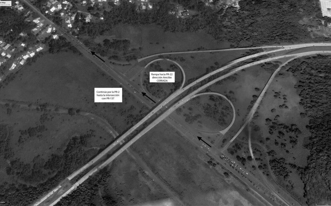 Cierre de rampa por trabajos de reparación sobre el puente 1946 en el km 32.4 en la PR-22 en Vega Alta en dirección hacia Arecibo